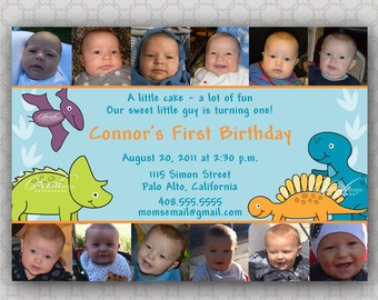 First Birthday Invitation- Collage - photos - digital -  Dinosaurs TRex