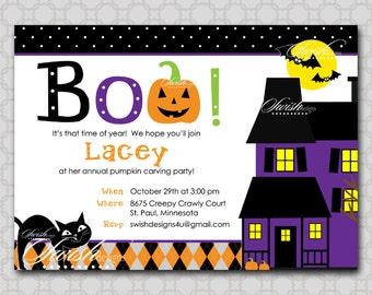 SALE: Halloween Birthday Invitation Haunted House Birthday, spider web printable party digital