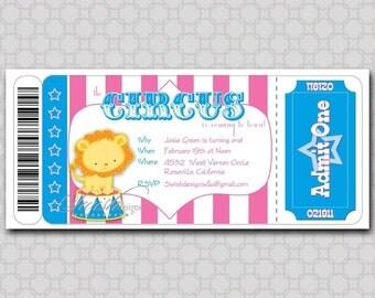 Girls Circus Birthday Invitation - Boarding Pass Invitation Ticket - Lion,  Ticket - Printable DIY invites