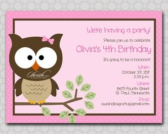 Owl Birthday Invitation - Look Whooo's Having a Party  - printable party