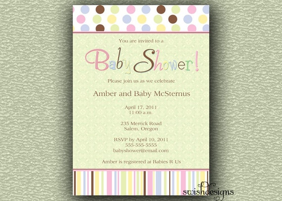 Baby shower invitation - gender neutral - polka dots - stripes - digital - printable