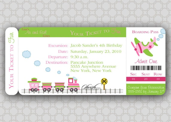 Girl Train and Airplane Birthday Invitation -  Boarding Pass Invite -  Digital Printable invitations