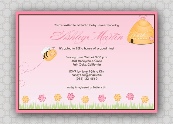 Bumble Bee Baby Shower Invitation - printable party - diy - hive