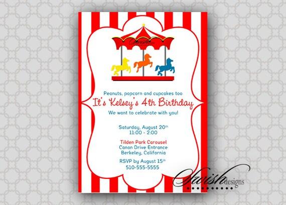 Carousel Birthday Invitation --- Merry-go-round, horse, digital boy girl printable party