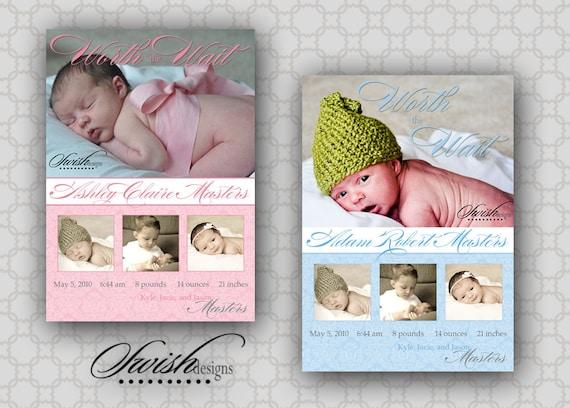 Birth Announcement: Worth the Wait - Custom Digital Photo Infertility Miracle Girl Boy Baby DIY - printable diy