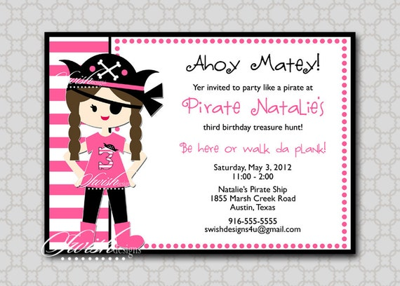 Girl pirate party invitations
