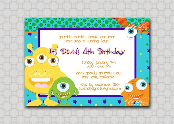 Monster Birthday Party Invitation - printable diy party