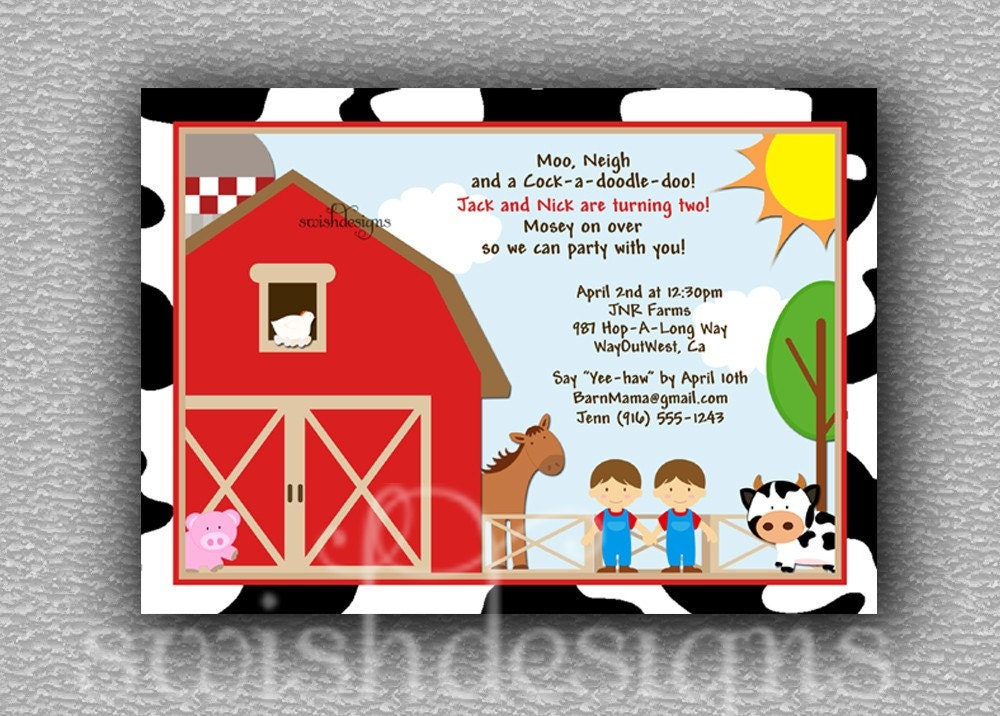 farm animal barn birthday party invitation package 5x7, Birthday invitations