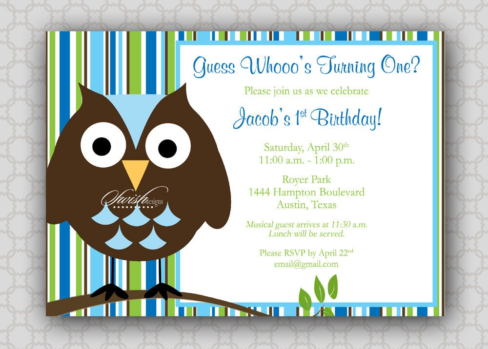 Owl First Birthday Invitations can inspire you to create best invitation template