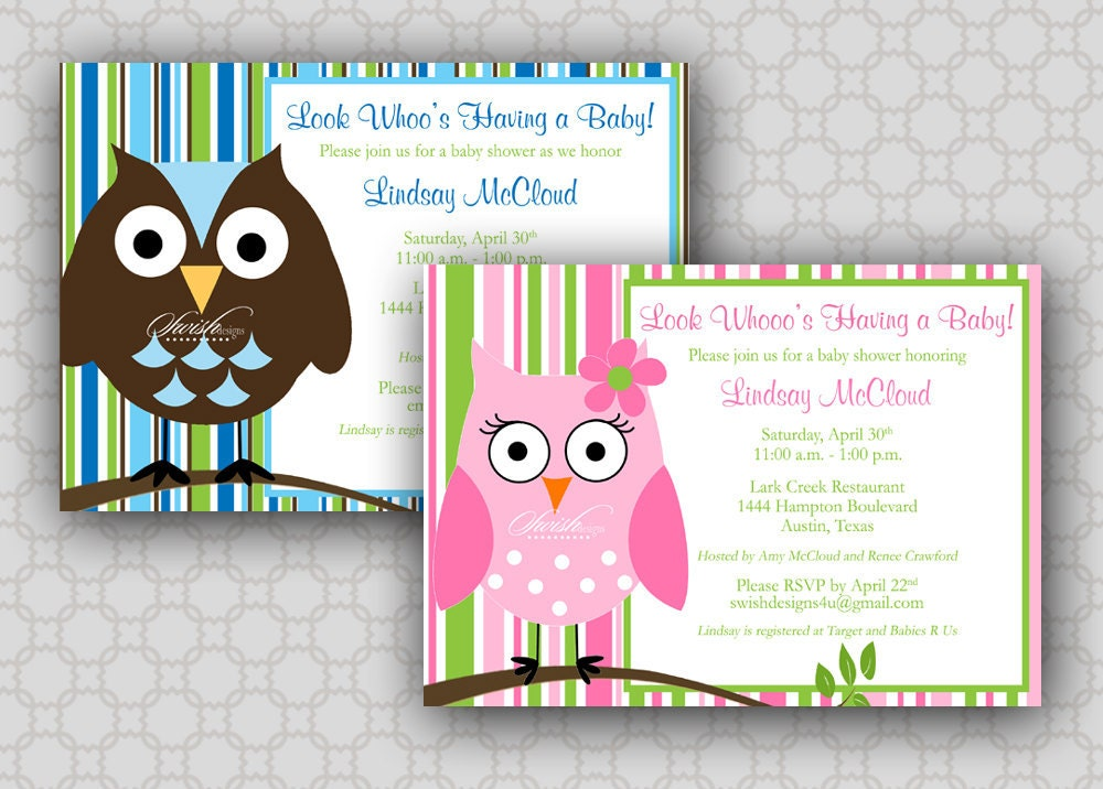 owl baby shower invitation look whoos having a baby owl