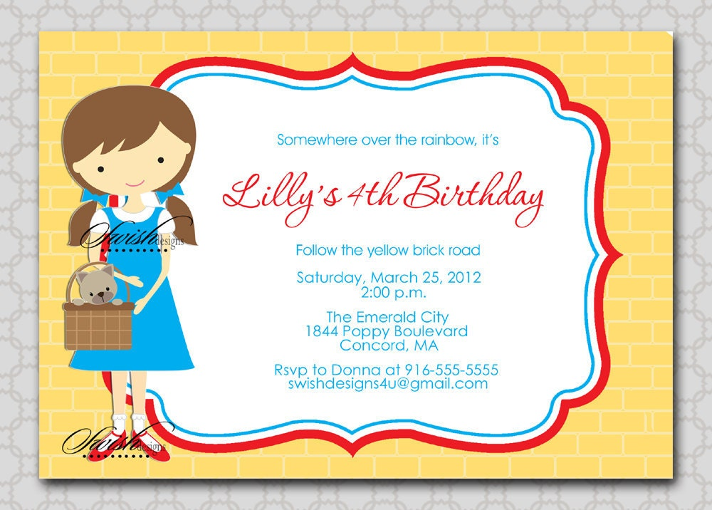 Wizard Of Oz Birthday Invitations is an amazing ideas you had to choose for invitation design