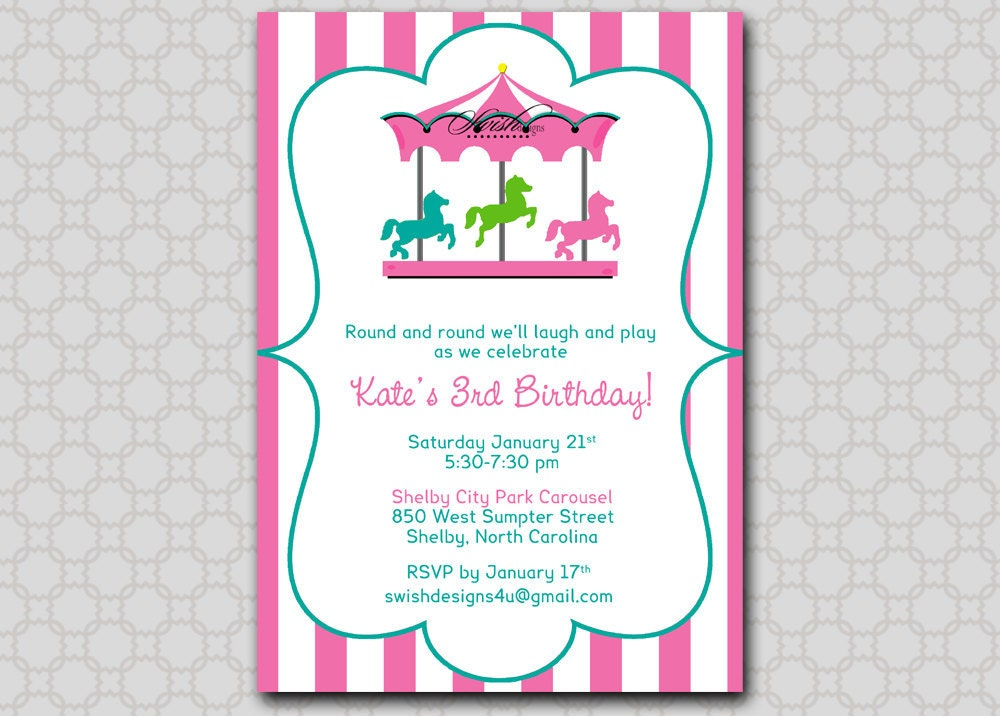 Carousel Birthday Invitation Merrygoround horse