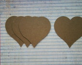 4 Chubby heart with pointy bottom bare chipboard die cuts diecuts