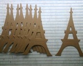 3 Bare chipboard die cuts Eiffel Tower Die cuts 3 1/16 inches wide x 5 inches tall