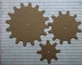 3 Bare chipboard die cuts larger Gear diecuts 3 sizes 2 1/2 inch, 3 1/2 inch, 4 1/2 inch