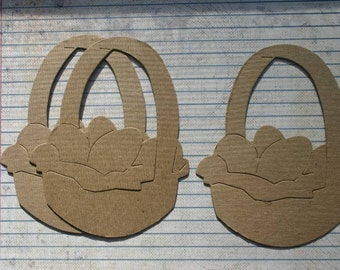 3 Bare chipboard die cuts Basket with eggs diecuts