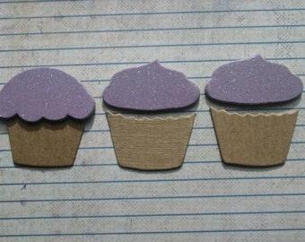 3 Lavender Glittery Cupcake chipboard die cuts Die cuts