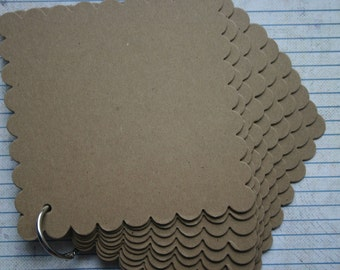 10 Page Square Scalloped Edge Chipboard die cut Album with bookring ALL PAGES SCALLOPED
