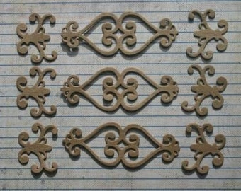 9 Pieces Scroll Bare chipboard die cuts diecuts