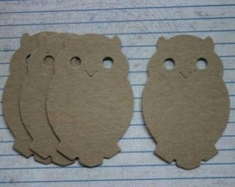 4 Small Bare Unfinished Chipboard Owl diecuts