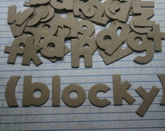 1 1/4 inch Block style bare chipboard die cut lowercase alphabet 2 of each letter 52 pieces