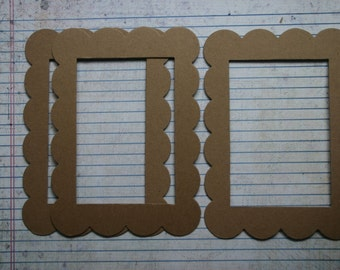 3 XL Scalloped Rectangle Chipboard Frame Diecuts