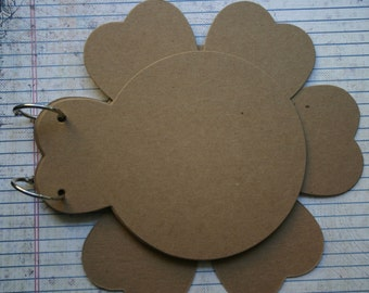 6 Page Bare Chipboard die cut Flower Petal Flip Album