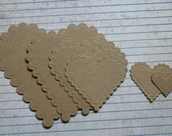 6 Bare/Unfinished chipboard die cuts Scalloped Edge Heart Diecuts
