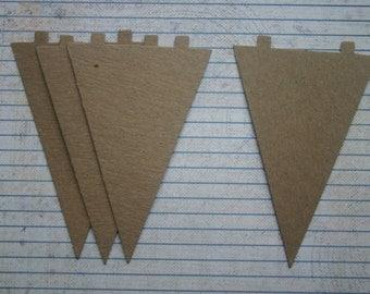 4 Bare Chipboard Triangle Diecuts Make a Banner