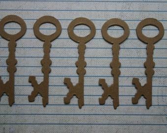 5 Bare chipboard die cuts Skeleton Key Diecuts