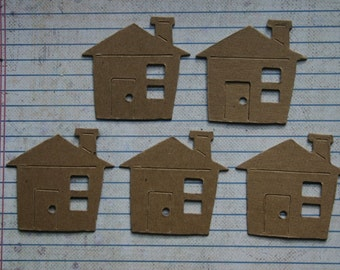 5 Bare chipboard die cuts Small House Diecuts