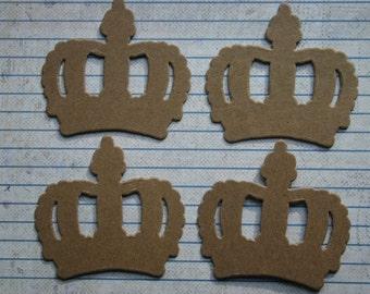 4 Bare chipboard die cuts Medium Crown Die cuts