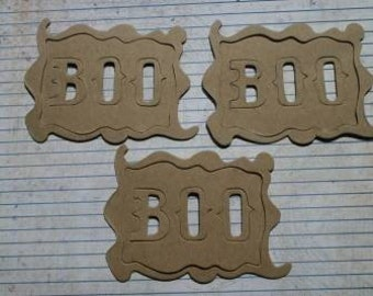 3 Bare chipboard die cuts Halloween Boo Frame Sign and word