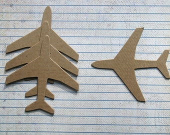 100 Bare chipboard die cuts medium AIRPLANE plane die cuts