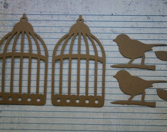 2 Birds and Cages Chipboard Diecuts Birdcage and bird