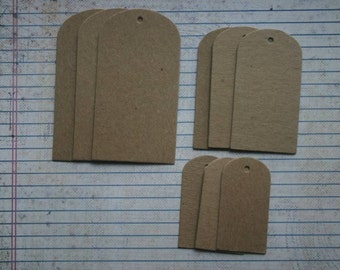 9 Bare Chipboard Rounded Top tags 3 each of 3 different sizes