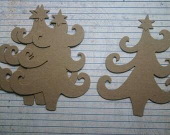 4 Bare chipboard die cuts Swirl Christmas Tree Diecuts
