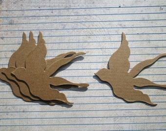 4 Bare Chipboard Medium Flying Bird Diecuts