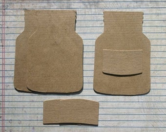 3 Bare/Unfinished chipboard die cuts Jar and Labels Die cuts