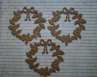 3 Wreath with bow bare chipboard die cuts diecuts