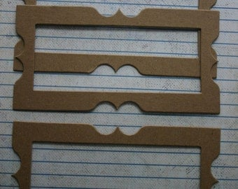 3 Bare Chipboard Fancy Rectangle Skinny Frame diecuts