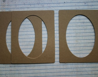 3 Bare chipboard Rectangle Frame w/oval cut out Diecuts