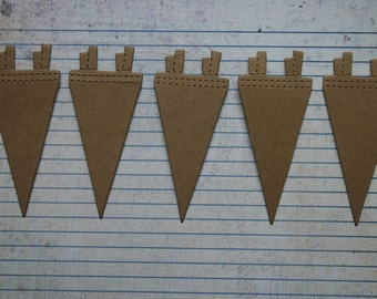 5 Bare chipboard Small Pennant diecuts make a Banner