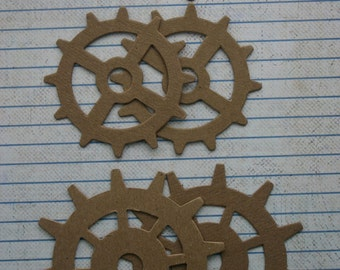 6 Unfinished chipboard die cuts Gear diecuts 2 each 3 sizes