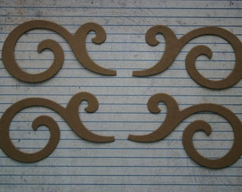"""2 sets Bare/Unfinished chipboard die cuts flourishes 4"""" wide"""