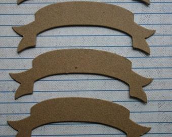 5 Bare chipboard die cuts Scroll or Banner Diecuts