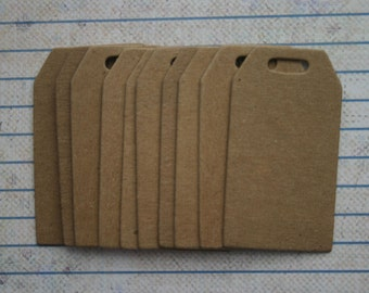 10 unfinished raw chipboard small sized tapered TAG diecuts 2 1/8 inches tall