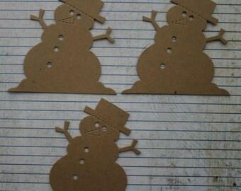 3 Bare chipboard die cuts Melting Snowman Diecuts