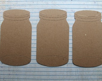 3 Bare chipboard die cuts Jar diecuts style no. 2    4 3/8 inches tall