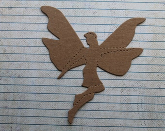 3 Unfinished chipboard Large Fairy Diecuts 4 1/4 inches wide